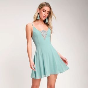 One and Only Dusty Blue Lace Skater Dress
